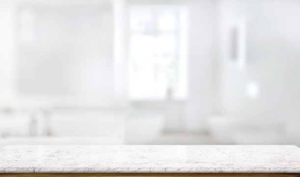 Marble counter table top in bath room background