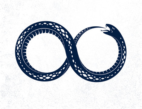 Snake eating its own tale, Uroboros Snake in a shape of infinity symbol, endless cycle of life and death, Ouroboros ancient symbol vector illustration logo, emblem or tattoo.