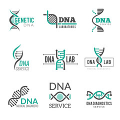 Dna logo. Genetic science symbols helix biotech vector business identity. Research medical biotech, molecule and dna logo illustration