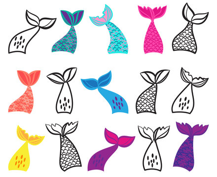 Vector Collection of Mermaid Tail Illustrations