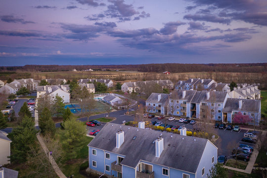 Aerial of Sunset in Plainsboro New Jersey