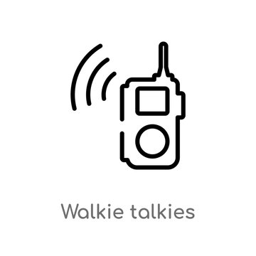 outline walkie talkies vector icon. isolated black simple line element illustration from outdoor activities concept. editable vector stroke walkie talkies icon on white background