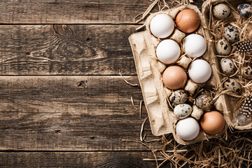Fresh rustic eggs in cardboard egg box