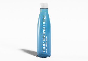 Plastic Sport Drink Bottle On White Mockup