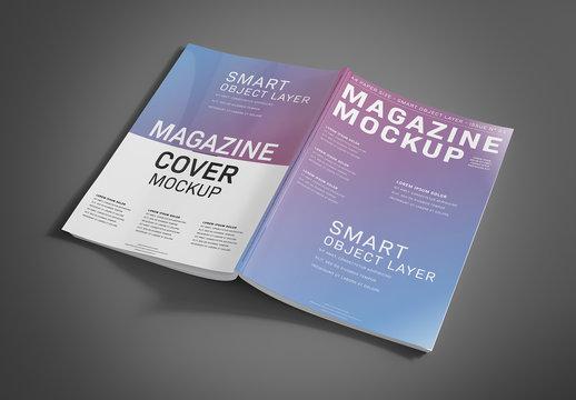 Open Magazine Cover on Grey Mockup
