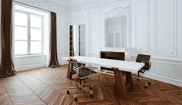 3d render of beautiful classic interior office