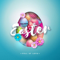 Vector Illustration of Happy Easter Holiday with Painted Egg, and Spring Flower on Shiny Blue Background. International Celebration Design with Typography for Greeting Card, Party Invitation or Promo