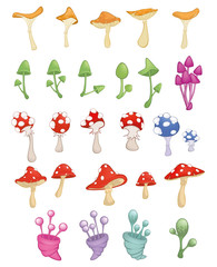 Stores à enrouleur Chambre bébé Set of Vector Cartoon Illustration.A Different Mushrooms for a Computer Game and you Design