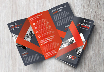 Trifold Brochure Layout with Black and Red Accents