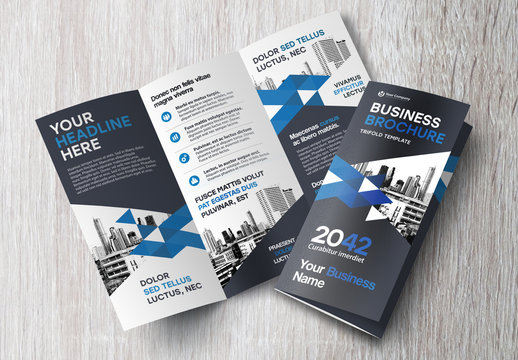 Trifold Brochure Layout with Black and Blue Accents