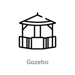 outline gazebo vector icon. isolated black simple line element illustration from architecture and city concept. editable vector stroke gazebo icon on white background