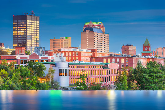 Manchester, New Hampshire, USA Skyline on the Merrimack River