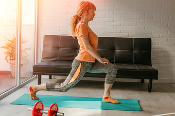 woman exercising at the gym or at home