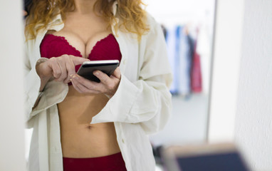 sexy woman with mobile phone