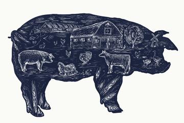 Pig, double exposure tattoo, Farm animals art hand drawn graphic