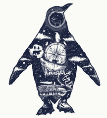 Penguin double exposure tattoo art and t-shirt design. Symbol of Arctic, Antarctica, tourism and adventure, north animals