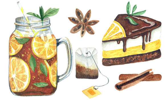 Watercolor set with drink and sweets on white background.