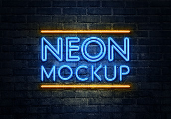 Blue and Yellow Neon Effect Mockup