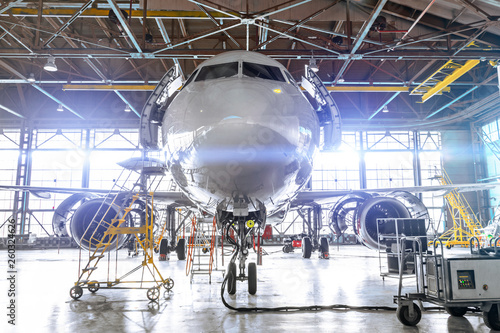 Aviation Hangar With Penger Aircraft Jet For Maintenance