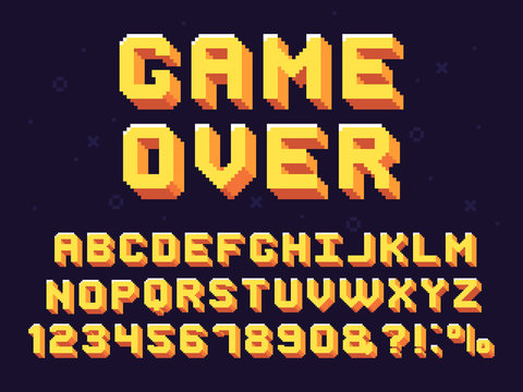 Pixel game font. Retro games text, 90s gaming alphabet and 8 bit computer graphic letters vector set