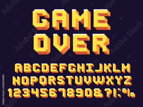 Pixel game font  Retro games text, 90s gaming alphabet and 8 bit