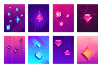 Abstract crystals poster. Precious jewel crystal stones, jewels diamond gems and hipster gem posters isolated vector background set