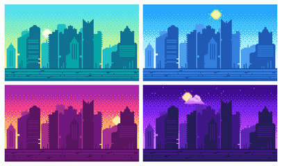 Pixel art cityscape. Town street 8 bit city landscape, night and daytime urban arcade game location Fotomurales