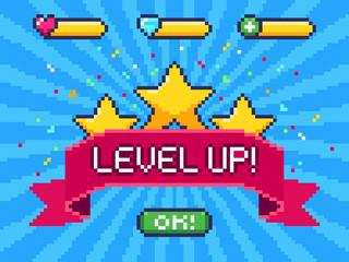 Level Up screen. Pixel video game achievement, pixels 8 bit games ui and gaming level progress vector illustration