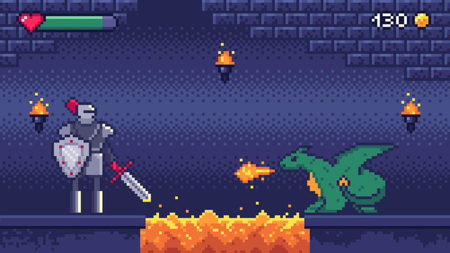 Pixel art game level. Hero warrior fights 8 bit dragon, pixels video games levels scene landscape and retro gaming vector illustration