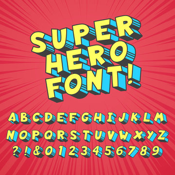 Super hero comics font. Comic graphic typography, funny supers heros alphabet and creative fonts letters symbol vector set