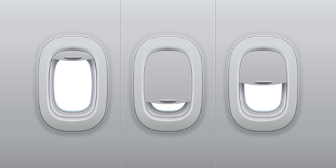 Aircraft windows. Airplane indoor portholes, plane interior window and fuselage glass porthole 3d vector illustration