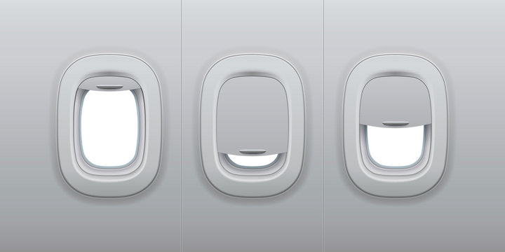 Aircraft windows. Airplane indoor portholes, plane interior window and fuselage glass porthole 3d vector illustration