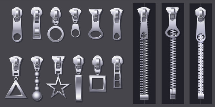 Zipper pulls. Metal zippers and fabric pull, cloth clasp and clothing zipper isolated 3d realistic vector set