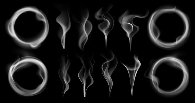 Steam smoke shapes. Smoking vapor streams, steaming vaping ring and vapor waves translucent realistic 3D effect isolated vector set