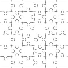 Jigsaws puzzles. Square puzzle 6x6 grid, jigsaw game and join 36 picture pieces vector illustration