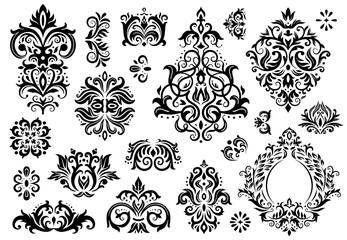 Damask ornament. Vintage floral sprigs pattern, baroque ornaments and victorian decor ornamental patterns vector illustration set