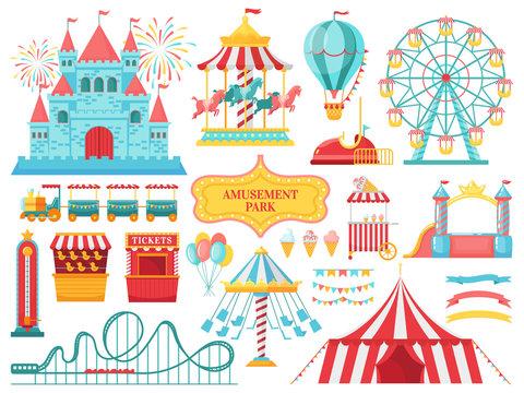 Amusement park attractions. Carnival kids carousel, ferris wheel attraction and amusing fairground entertainments vector illustration