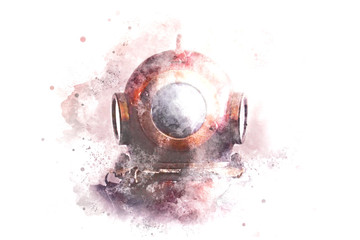 Watercolor illustration. A helmet from an old diving suit.