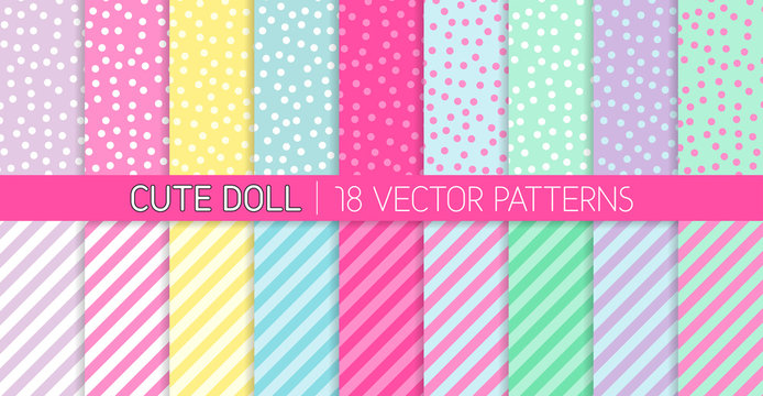 Cute Girly LOL Doll Style Vector Patterns. Random Polka Dots and Stripes in Pastel Pink, Blue, Lilac, Mint Green, Yellow and White. Kids Birthday Party Decor. Repeating Pattern Tile Swatches Included.
