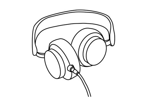 Headphones with music and technology symbols Vector illustration isolated on white background. Vector monochrome, drawing by lines