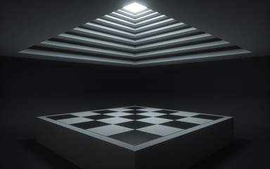 3d render, abstract background, geometrical shapes, chess board, showcase platform mockup, white ceiling light, empty dark room