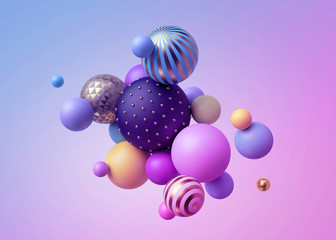 3d render, abstract pastel balls, pink blue balloons, geometric background, multicolored primitive...