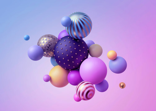 3d render, abstract pastel balls, pink blue balloons, geometric background, multicolored primitive shapes, minimalistic design, pastel colors palette, party decoration, plastic toys, isolated elements