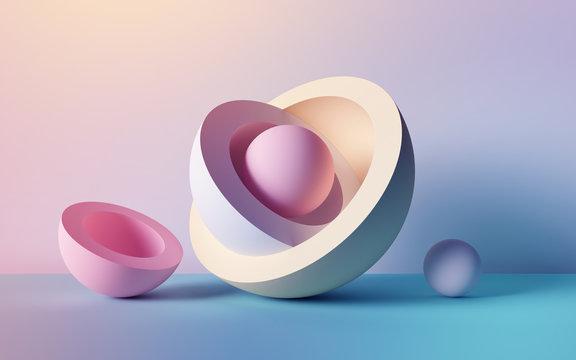 3d render, abstract background, pastel neon balls, primitive geometric shapes, simple mockup, minimal design elements
