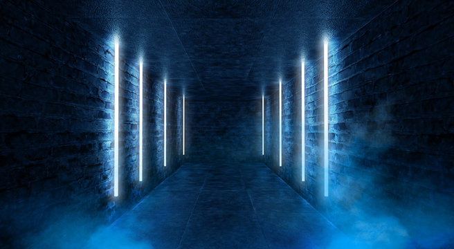 Abstract tunnel, corridor with rays of blue light and neon highlights. Abstract blue background, neon. Empty dark room with rays and lines. Brick walls, concrete floor. Night view. 3D illustration.