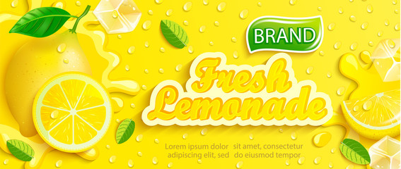 Fresh lemonade with lemon, splash, apteitic drops from condensation, fruit slice, ice cubes on gradient yellow background for brand,logo, template,label,emblem and store,packaging,advertising.Vector