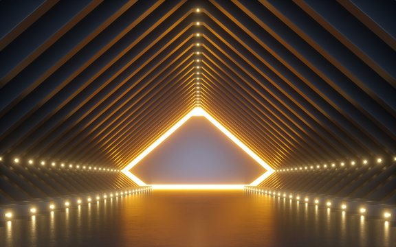 3d render, abstract background, corridor, tunnel, virtual reality space, yellow neon lights, fashion podium, club interior, empty warehouse, floor reflection