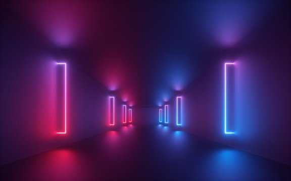 3d render, red blue neon light, illuminated corridor, tunnel, empty space, ultraviolet light, 80's retro style, fashion show stage, abstract background