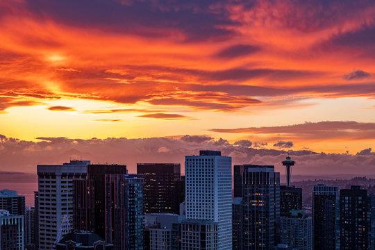 Sunset above downtown of Seattle, WA