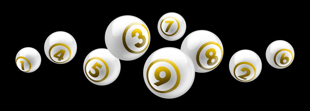 Vector shiny white lottery / bingo ball number from 1 to 9 isolated on black background